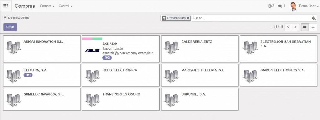 Características y funcionalidades: Gestión de Compras Odoo v10